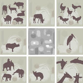Large set ofAfrican animals and abstract seamless pattern. Silhouette. Vector — Stock Vector
