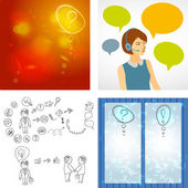 Beautiful woman working in a call center with speech bubbles. Hand doodle Business icon set idea design, job search, resume. Question mark icon sketch. Vector — Stock Vector