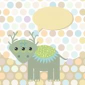 Polka dot background, pattern. Funny cute monster dinosaur on dot background. Vector — Stock Vector