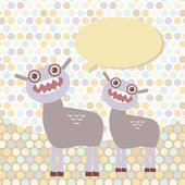 Polka dot background, pattern. Funny cute dinosaur monsters on dot background. Vector — Stock Vector