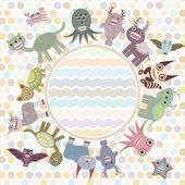 Polka dot background, card for your text in circle. Funny cute dinosaur monsters on dot background. Vector — Stock Vector