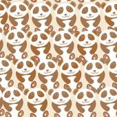 Funny cute panda seamless background, pattern. Vector — Stock Vector