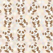 Polka dot background, pattern. Funny cute panda on dot background. Vector — Stock Vector