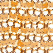 Funny cute fox seamless background, pattern. Vector — Stock Vector