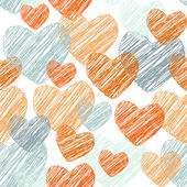 Doodle Funny seamless pattern with orange and blue hearts. Vector — Stock Vector