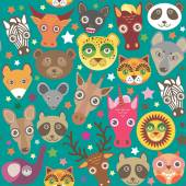 Set of funny animals muzzle seamless pattern. Teal background with stars. Vector — Stock Vector
