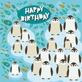 Happy birthday card funny penguins on an ice floe. Vector — Stock Vector