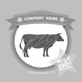 Farm shop, cow Silhouette, milk Diagram and Design Elements in Vintage Style. Vector — Stockvector