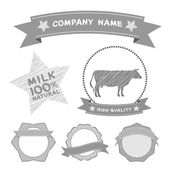Butcher shop labels and design elements Farm, cow milk Diagram and Design Elements in Vintage Style. Vector — Stock Vector