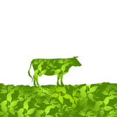Cow silhouette  graze in the field, landscape, grass, pasture. green  background.  Vector — Stock Vector