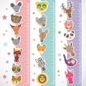Children height meter wall Sticker set. funny animals muzzle stiker with stars pink lilac blue stripes. Vector — ストックベクタ