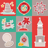 Sticker set Vintage nautical card and seamless pattern with sea animals, boats, lighthouse. cute sea objects collection. Vector  — Stockvektor