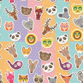 Set of funny animals muzzle seamless pattern. background with Polka dot. Vector — Stock Vector