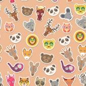 Set of funny animals muzzle seamless pattern. pink peach background. Vector — Stock Vector