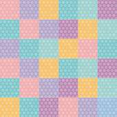 Polka dot background seamless pattern with orange pink lilac blue square. Vector — ストックベクタ