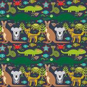Animals Australia snake, turtle, crocodile, alliagtor, kangaroo, dingo. Seamless pattern on  dark background. Vector — Stock Vector