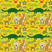 Animals Australia snake, turtle, crocodile, alliagtor, kangaroo, dingo. Seamless pattern on  green background. Vector — Stock Vector