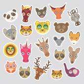 Sticker set of funny animals muzzle. Vector — Stock Vector