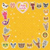 Funny Animals Happy birthday. orange Polka dot background. Vector — Wektor stockowy