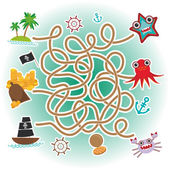 Sea animals, boats pirates. sea objects collection labyrinth game for Preschool Children. Vector — Stock Vector