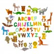 Alphabet for kids from A to Z. Set of funny cartoon animals character. zoo on white background. Vector — Stock Vector #78508938