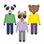 Panda, raccoon, bear animals set in Trendy Flat Style. zoo infographics design. Vector — Stock Vector