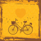 Abstract grunge frame. bicycle silhouette on orange background template. Vector — Stock Vector