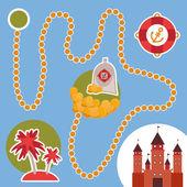 Pirate treasure, island, castle. game for Preschool Children. Vector — Stock Vector