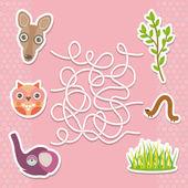 Kangaroo owl elephant labyrinth game for Preschool Children. Vector — Stock Vector