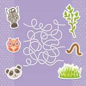 Zebra panda owl  labyrinth game for Preschool Children. Vector — Stock Vector