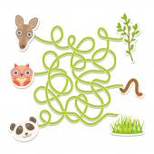 Owl panda kangaroo labyrinth game for Preschool Children. Vector — Stock Vector