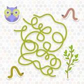 Owl bird labyrinth game for Preschool Children. Vector — Stock Vector
