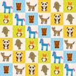 Set of funny animals panda bear wolf fox fur seal unicorn seamless pattern. Polka dot background with green blue orange square. Vector — Stock Vector #78512396