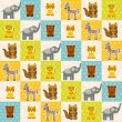Set of funny animals bear cat raccoon zebra tiger elephant seamless pattern. Polka dot background with green blue orange square. Vector — Stock Vector #78512406