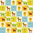 Set of funny animals Mouse lion cow dinosaur tiger horse seamless pattern. Polka dot background with green blue orange square. Vector — Stock Vector #78512414