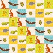 Set of funny animals bat turtle owl tiger kangaroo narwhal seamless pattern. Polka dot background with green blue orange square. Vector — Stock Vector #78512418