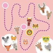 Funny cartoon animals game for Preschool Children. Vector — Stock Vector