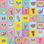 Set of funny animals muzzle seamless pattern with pink lilac blue yellow square. Vector — Stock Vector
