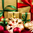 Six Xmas Gifts in Golden Wrapping — Stock Photo #52233715