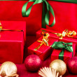 Five Xmas Gifts Wrapped in Plain Red — Stock Photo #52233953