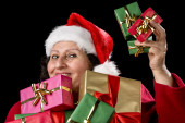 Perky Female Pensioner Presenting Wrapped Gift — Stock Photo