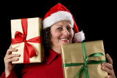 Cheerful Old Lady with Two Wrapped Golden Gifts — Stock Photo