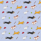 Funny dogs are chasing their items pattern — Stock Vector
