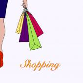 Illustration of young woman go shopping — Stock Vector