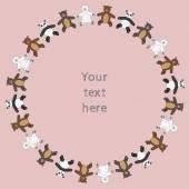 Circle teddy bears toys frame — Stock Vector