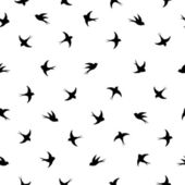 Flying birds silhouette black and white pattern — Stock Vector