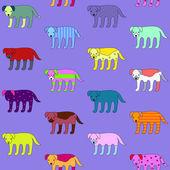 Lindo y gracioso perros sin fisuras patrón de caminar — Vector de stock