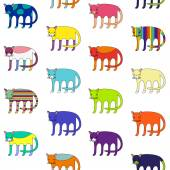 Cute different cats colorful seamless pattern — Wektor stockowy