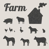 One color set of farm animals and country house — Stock Vector