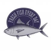 Engrave style vintage logo of fish store, market etc.  — Stock Vector